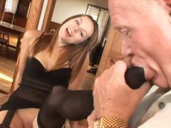 Old man worships her feet and gets a BJ