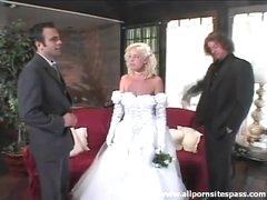 Beautiful bride sucks dick after the..
