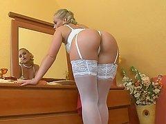 Sexy blond honey Kathia Nobili looks..