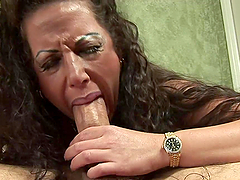 Cowgirl and Side Fucking for Big Breasted Mature Brunette