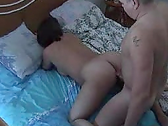 Horny mature couple are fucking under..