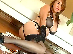 Sexy Asian Kianna gets banged and cummed on her nylons