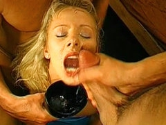hot blonde swallows down some jizz