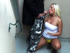 Public blowjob from busty blonde..