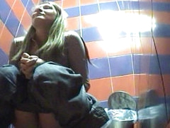 That blonde is so sexy while peeing