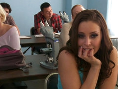Cute brunette Gracie Glam gets cum..