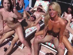 Blonde in outdoor sex orgy