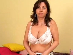 Mature chick with saggy boobs..