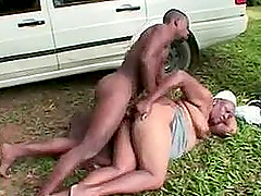 Fat ebony granny gets fucked by a..