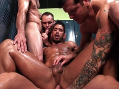 Hardcore gay orgy with muscular Trey..