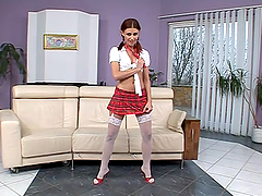 Naughty girl in school uniform gets..