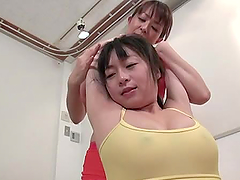 Two sexy Japanese girls having an amazing FFM sex