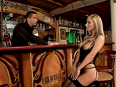 Naughty Helena  gets double penetrated in a bar