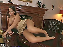 Eve Angel the slutty babe masturbates..