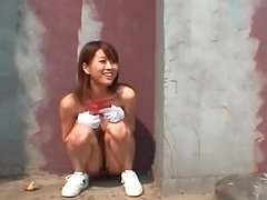 Public nudity scene with hot asian..