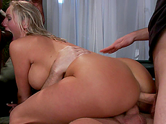 Sluttiest Busty Blonde MILF Enjoys a DP BDSM Gangbang