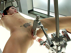 Tied Up Tattooed Brunette Tori Lux..