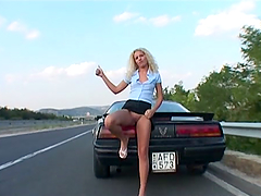 Horny hitchhiking blonde gets fucked..
