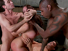 Busty Girl Gets Double Penetration in Interracial Gangbang
