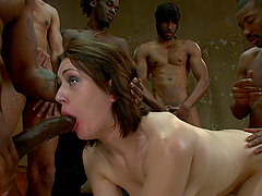 Big Cocks Fucking a Brunette Girl's Every Holes in Interracial Gangbang