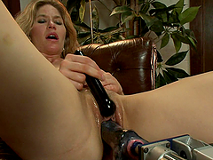 Horny Blonde Using Vibrators and Machines to Orgasm