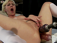 Blonde Teen Screaming as she Gets..