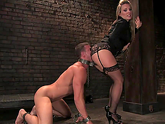 Dominant Blonde Tortures And Fucks A Guy