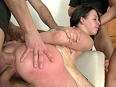 Hot Masturbating Teen Gets BDSM Gangbang and Bukkake