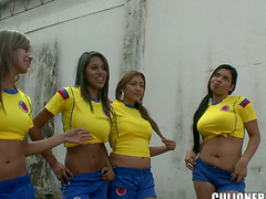 Latina Ladies Footy Team Bang Their..