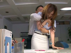 Japanese babe gets fucked from behind..