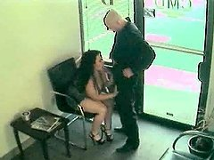 Security cam video with a brunette..