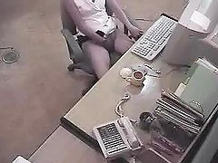 Slim office girl caught masturbating..