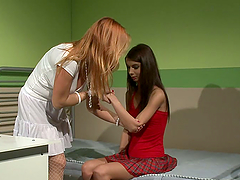 Betty Stylle lets lewd lesbian Katy Parker play with her pussy