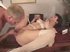 Mature brunette gets her ass slammed..