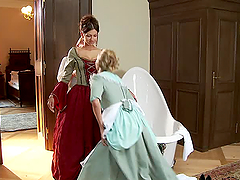 Two salacious maids having lesbian sex..