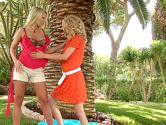Two blond lusty sunbathers are having..
