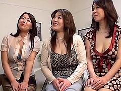 Three Japanese MILFs having wild CFNM..