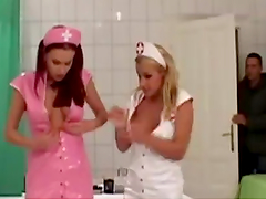Horny Nurses Have A Threesome With A Patient