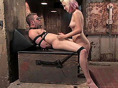 Dominant Blonde Riding His Dick after Fucking His Ass in Femdom Pegging