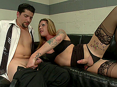 Tattooed Shemale Banging a Dude's..