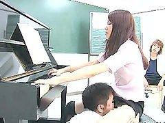 Music Teacher Moe Mitsui rewards her..