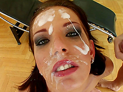 A Messy Bukkake For A Slutty Brunette After A Gangbang