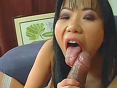 Asian Babe Rides A Thick Black Cock