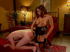 Busty Mistres Fucks Her Slaver With A..