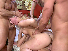 White trash blonde bitch gets caught in gangbang