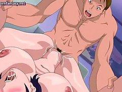 Horny anime milf getting big penis