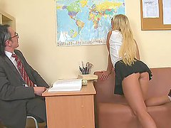 Beautiful Blonde School Girl Drains..