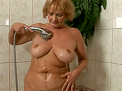 Granny gets seduced in the shower and..