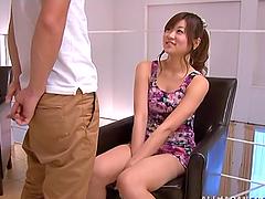 Ayumi Mochizuk deepthroats a cock and..