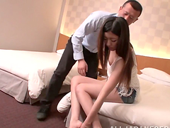 Long-haired Japanese girl takes a cock..